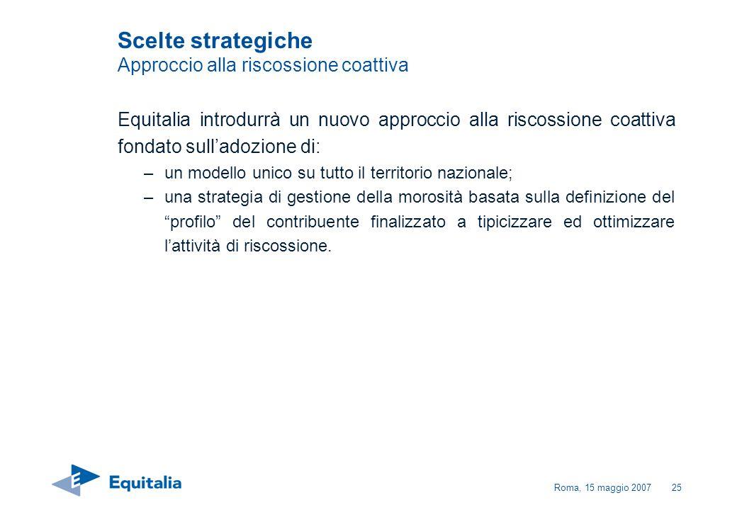 Roma, 15 maggio 200725 Equitalia introdurrà un nuovo approccio alla riscossione coattiva fondato sulladozione di: –un modello unico su tutto il territ