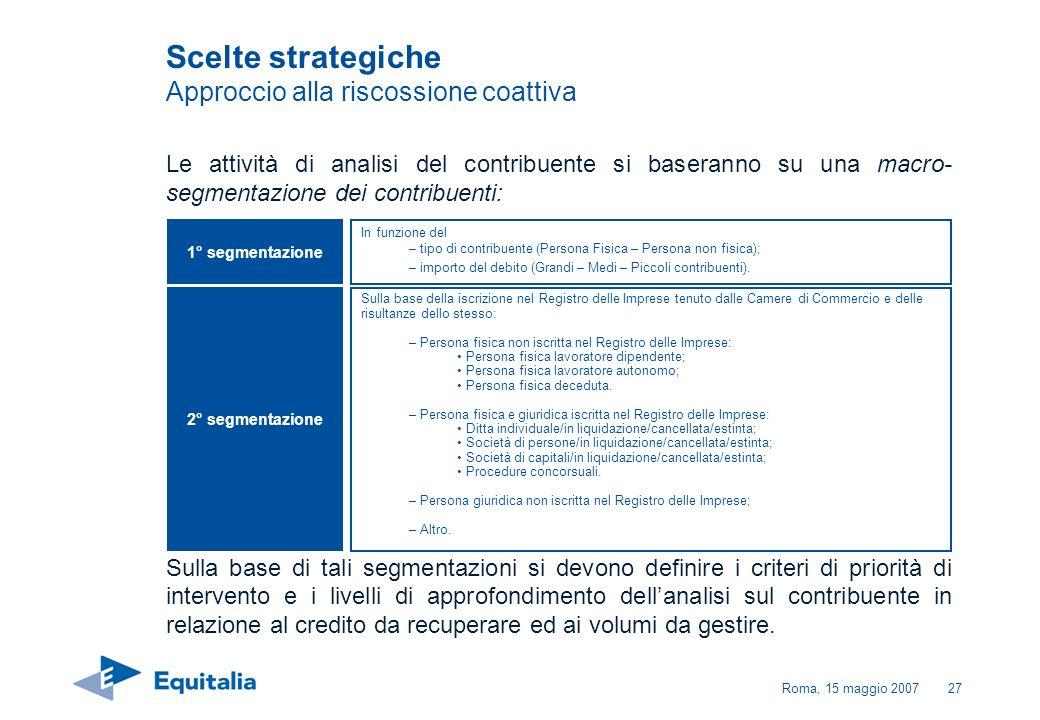 Roma, 15 maggio 200727 Le attività di analisi del contribuente si baseranno su una macro- segmentazione dei contribuenti: Sulla base di tali segmentaz