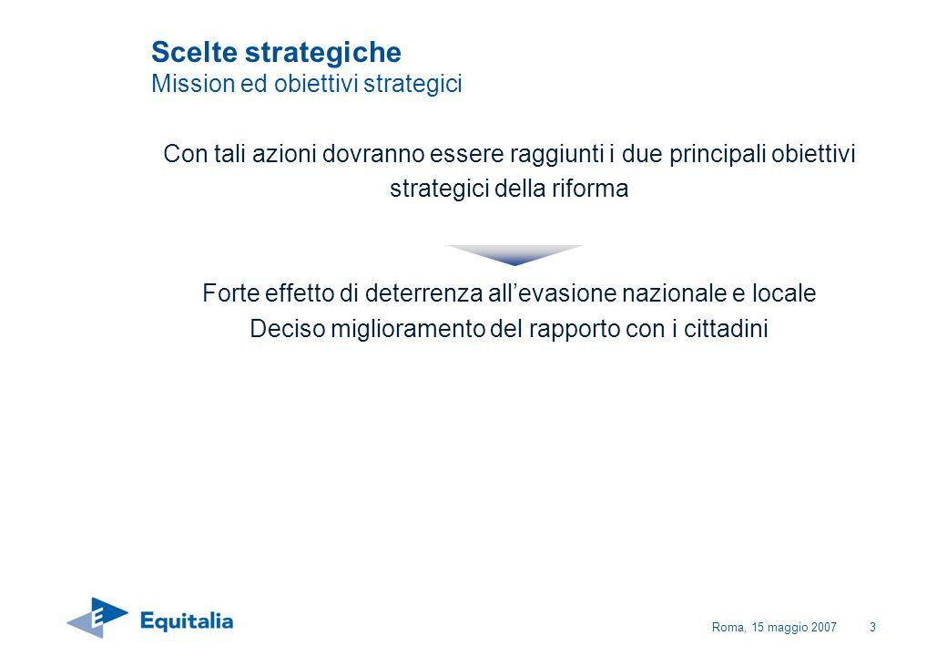 Roma, 15 maggio 200764 Piano delle attività Struttura Equitalia ha sviluppato un piano che comprende le azioni da attuare per la realizzazione delle scelte strategiche illustrate, articolato nel modo seguente: