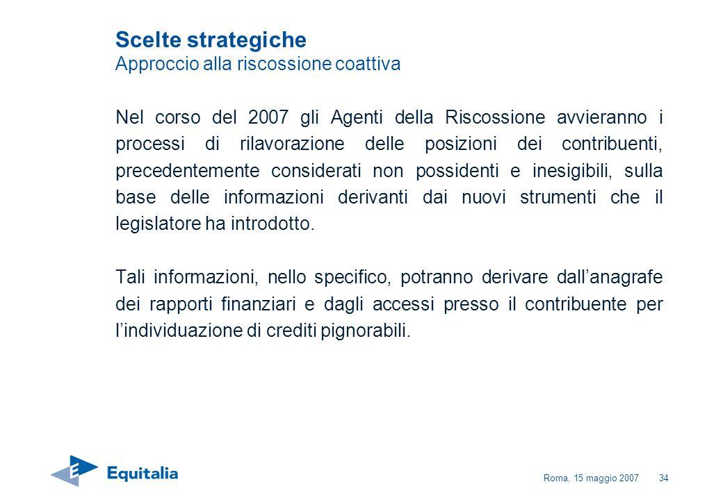 Roma, 15 maggio 200734 Scelte strategiche Approccio alla riscossione coattiva Nel corso del 2007 gli Agenti della Riscossione avvieranno i processi di