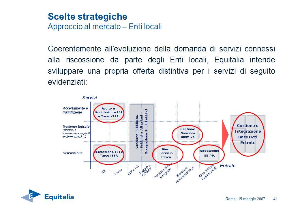 Roma, 15 maggio 200741 Coerentemente allevoluzione della domanda di servizi connessi alla riscossione da parte degli Enti locali, Equitalia intende sv
