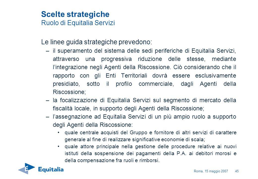 Roma, 15 maggio 200745 Scelte strategiche Ruolo di Equitalia Servizi Le linee guida strategiche prevedono: –il superamento del sistema delle sedi peri