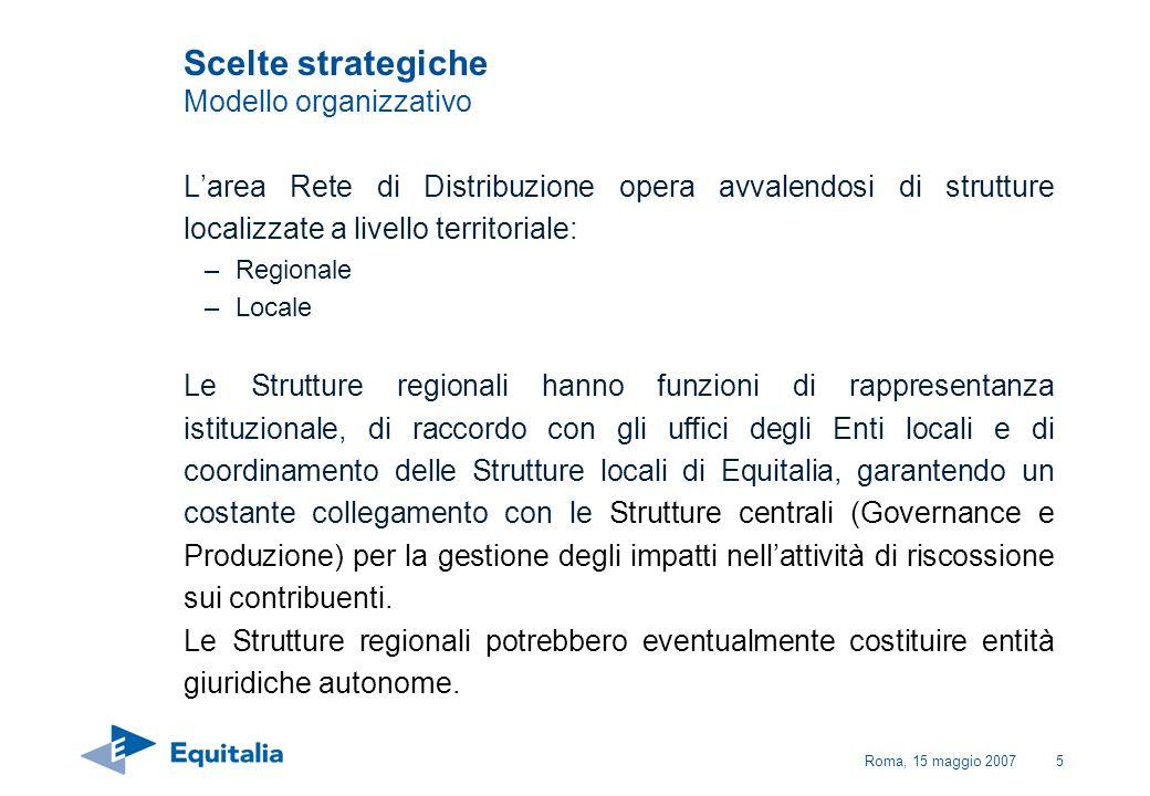 Roma, 15 maggio 20075 Larea Rete di Distribuzione opera avvalendosi di strutture localizzate a livello territoriale: –Regionale –Locale Le Strutture r