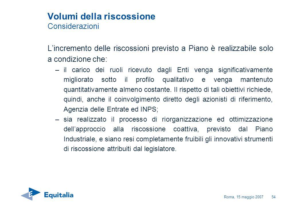 Roma, 15 maggio 200754 Volumi della riscossione Considerazioni Lincremento delle riscossioni previsto a Piano è realizzabile solo a condizione che: –i