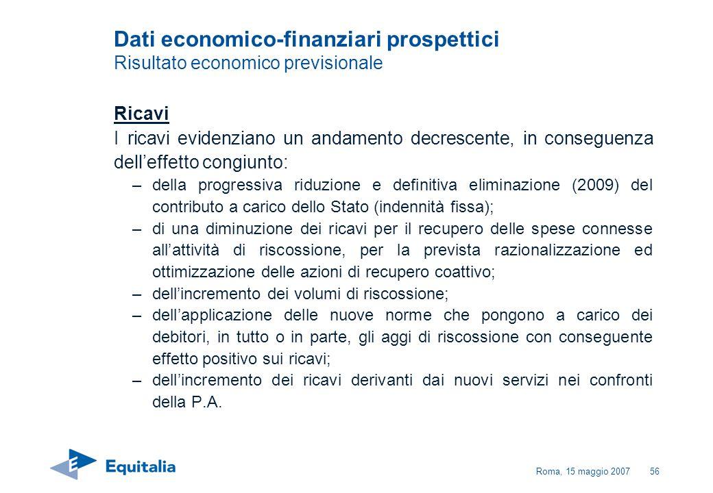 Roma, 15 maggio 200756 Dati economico-finanziari prospettici Risultato economico previsionale Ricavi I ricavi evidenziano un andamento decrescente, in