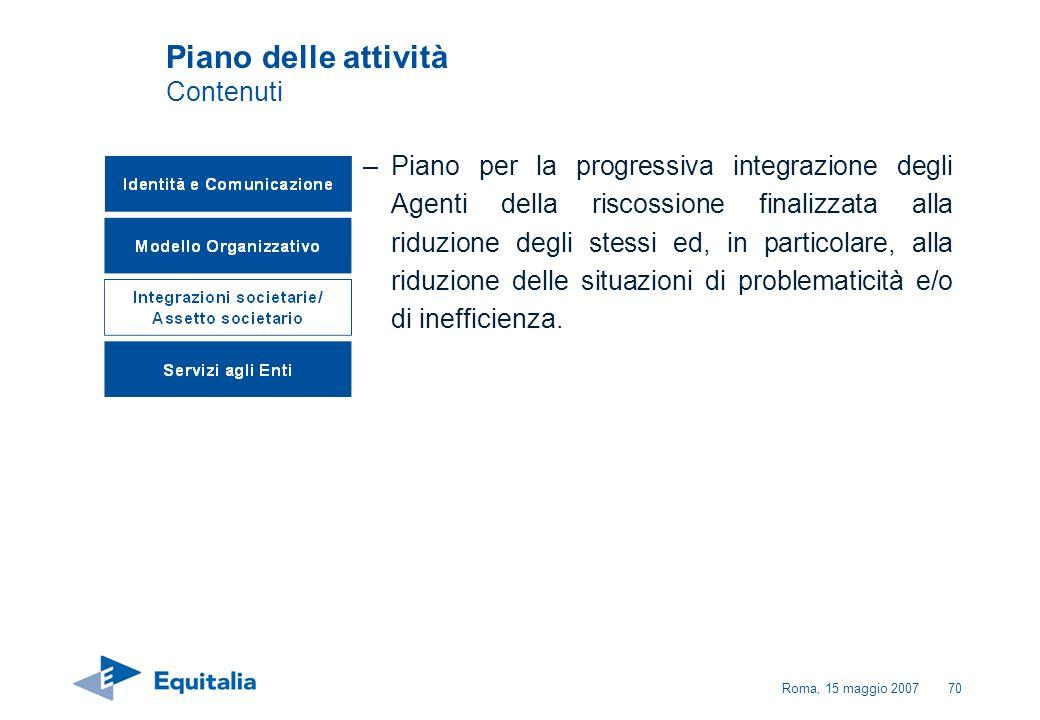 Roma, 15 maggio 200770 Piano delle attività Contenuti –Piano per la progressiva integrazione degli Agenti della riscossione finalizzata alla riduzione