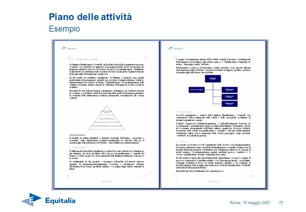 Roma, 15 maggio 200772 Piano delle attività Esempio