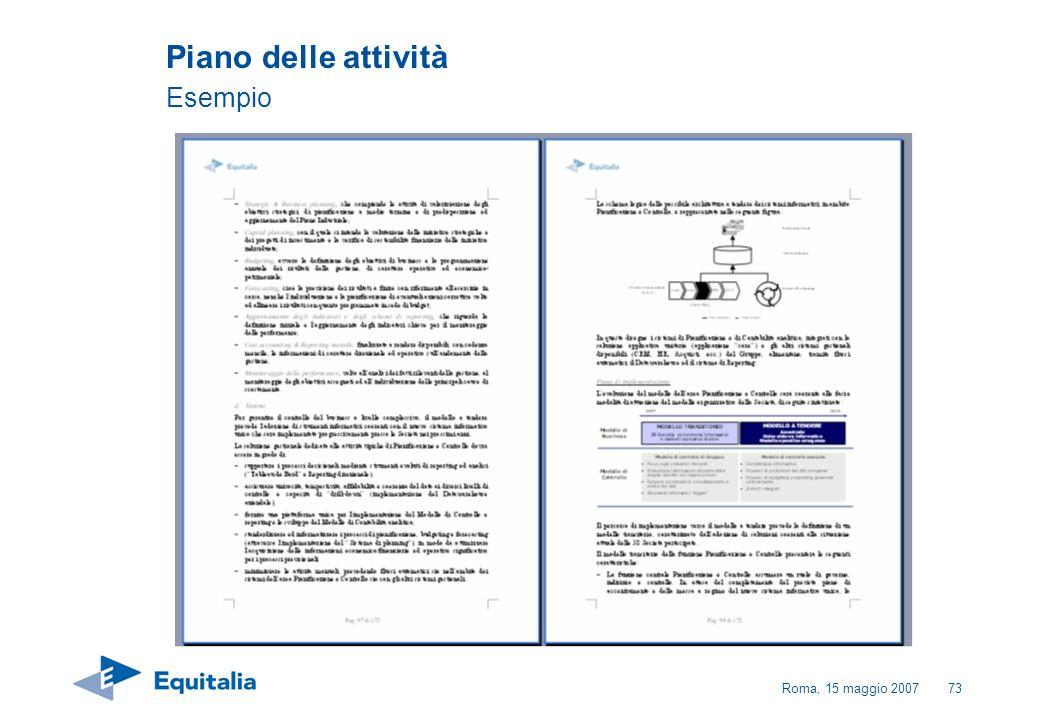 Roma, 15 maggio 200773 Piano delle attività Esempio