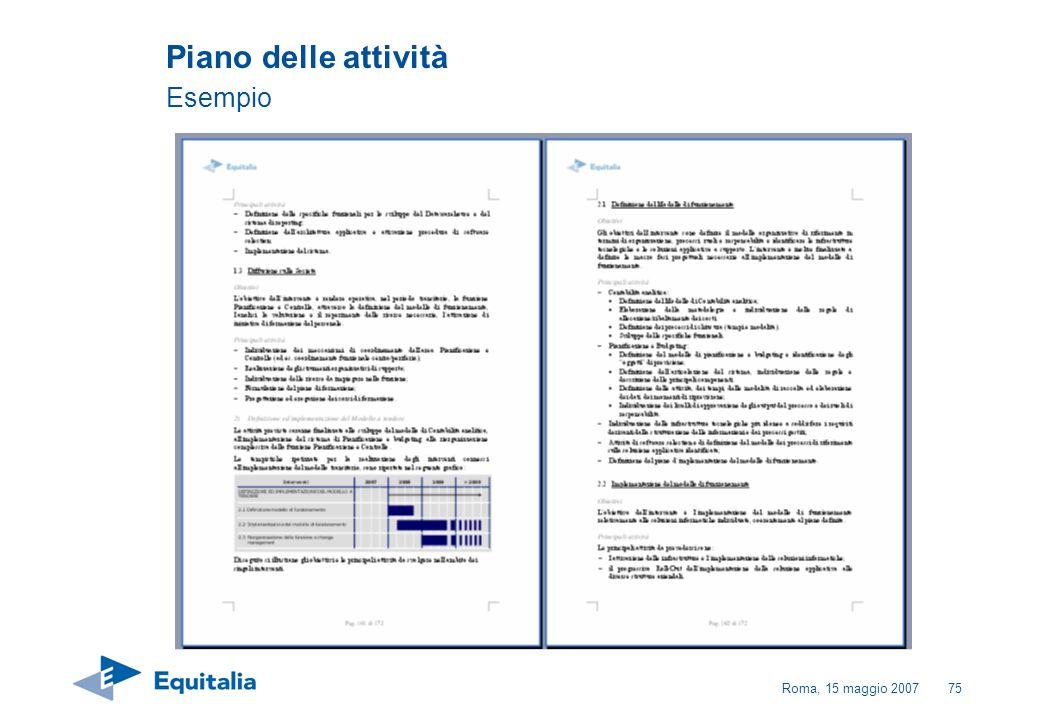 Roma, 15 maggio 200775 Piano delle attività Esempio
