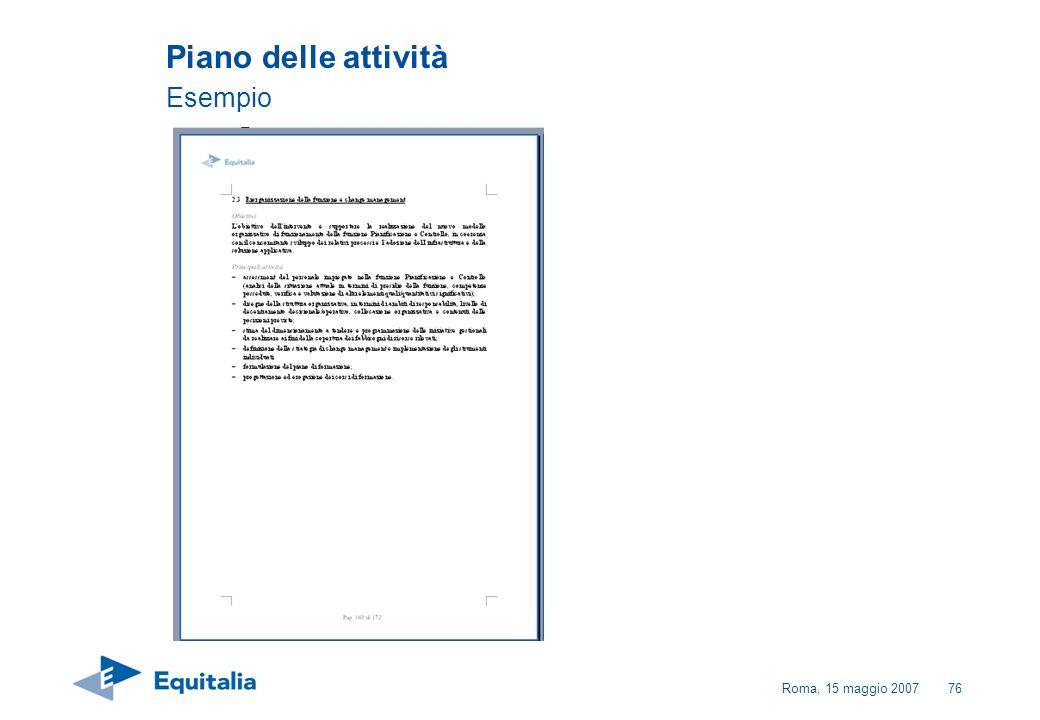 Roma, 15 maggio 200776 Piano delle attività Esempio