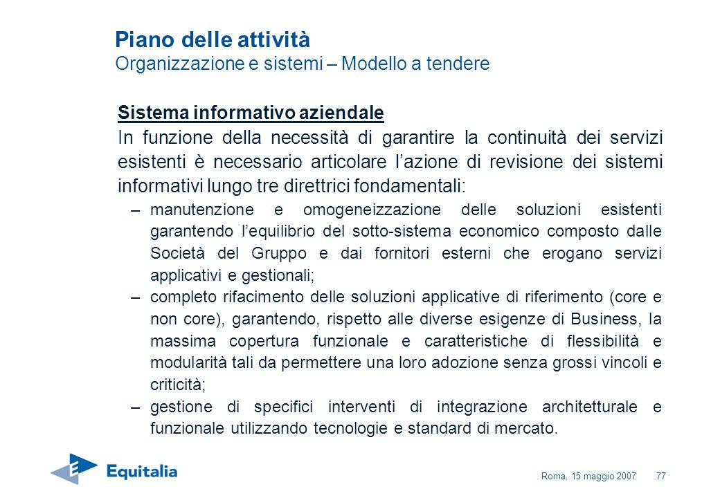 Roma, 15 maggio 200777 Piano delle attività Organizzazione e sistemi – Modello a tendere Sistema informativo aziendale In funzione della necessità di