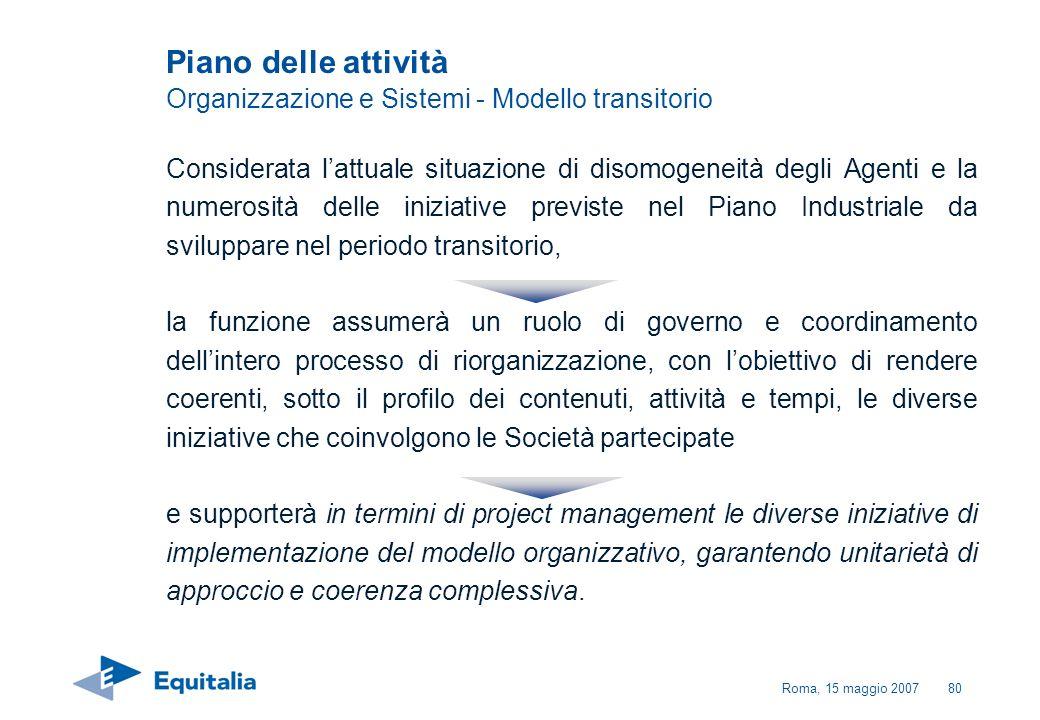 Roma, 15 maggio 200780 Considerata lattuale situazione di disomogeneità degli Agenti e la numerosità delle iniziative previste nel Piano Industriale d