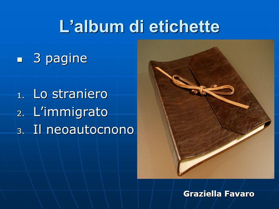 Lalbum di etichette 3 pagine 3 pagine 1. Lo straniero 2. Limmigrato 3. Il neoautocnono Graziella Favaro