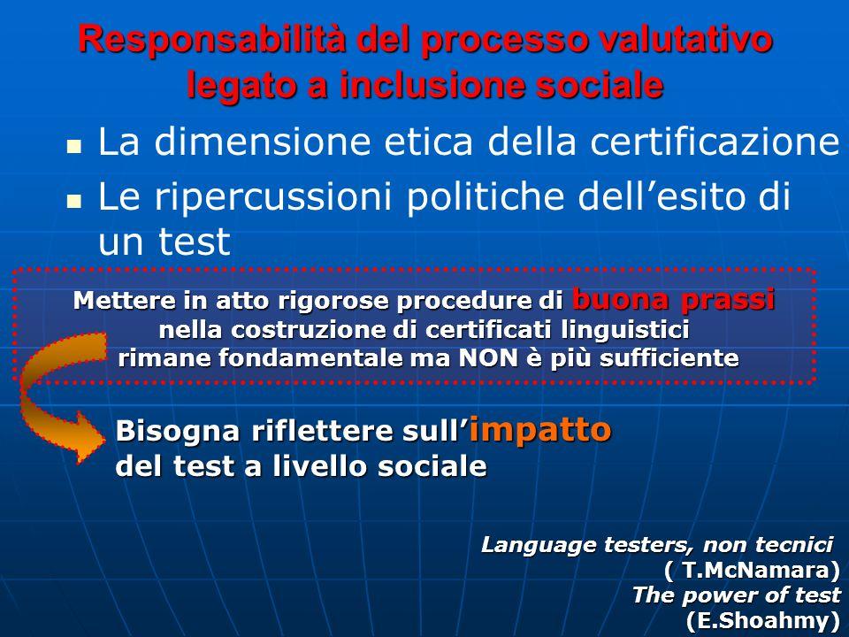 Responsabilità del processo valutativo legato a inclusione sociale La dimensione etica della certificazione Le ripercussioni politiche dellesito di un
