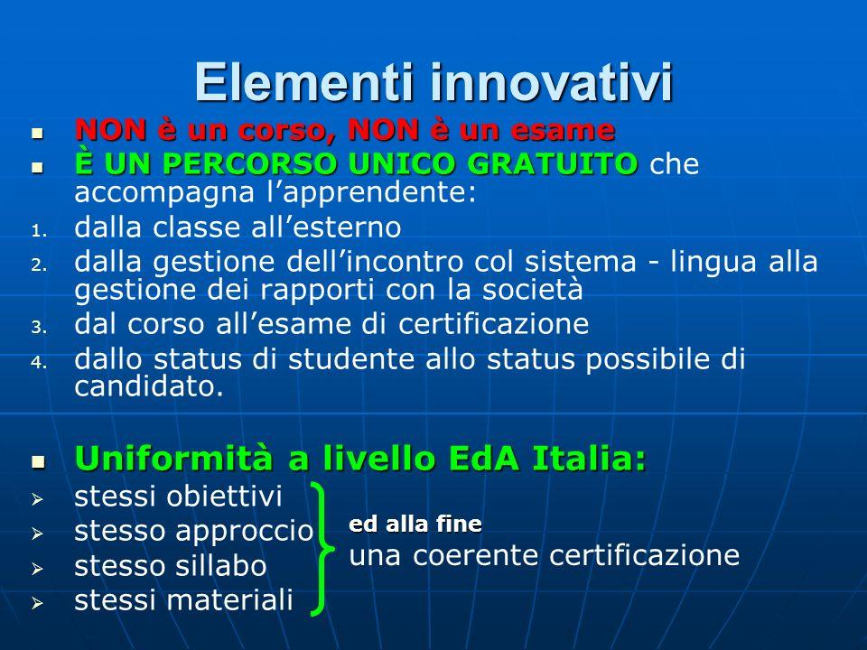 Elementi innovativi NON è un corso, NON è un esame NON è un corso, NON è un esame È UN PERCORSO UNICO GRATUITO È UN PERCORSO UNICO GRATUITO che accomp