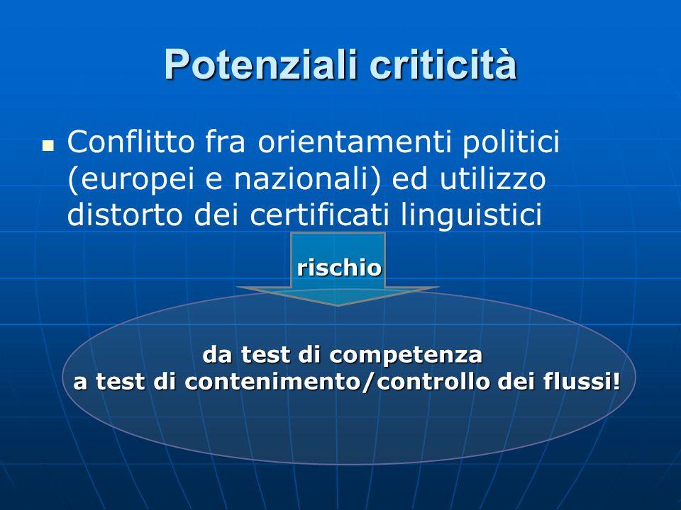 Potenziali criticità Conflitto fra orientamenti politici (europei e nazionali) ed utilizzo distorto dei certificati linguistici da test di competenza