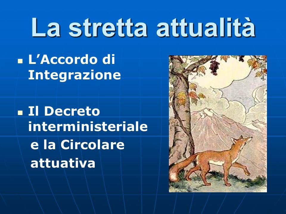 La stretta attualità LAccordo di Integrazione Il Decreto interministeriale e la Circolare attuativa