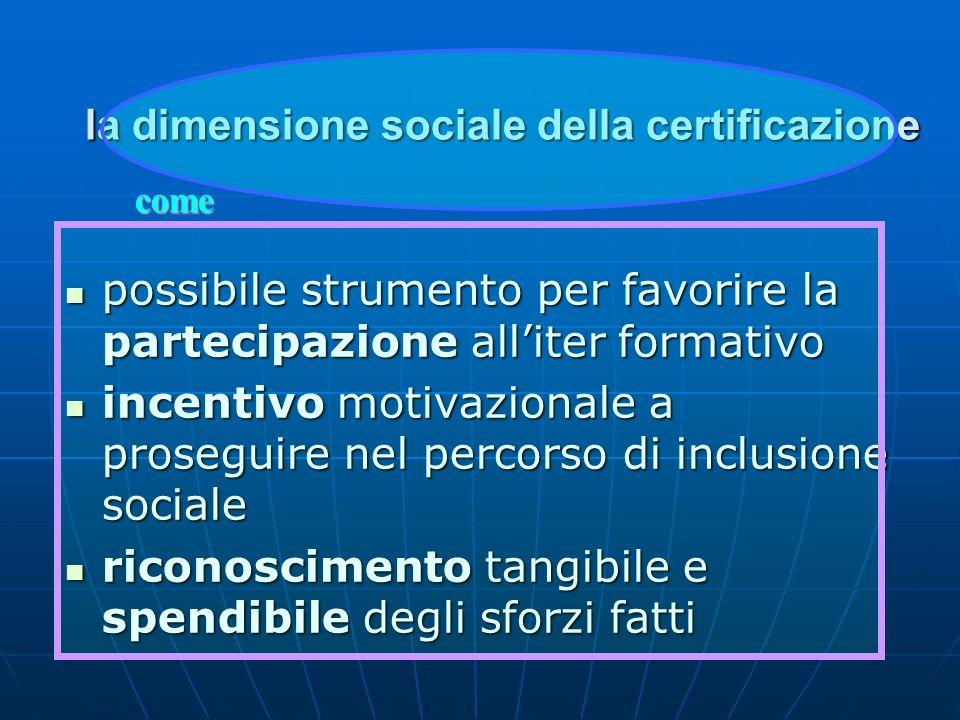 la dimensione sociale della certificazione possibile strumento per favorire la partecipazione alliter formativo possibile strumento per favorire la pa