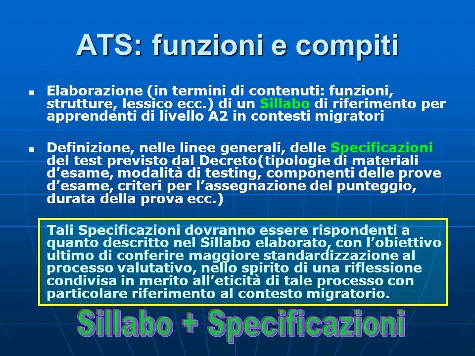 ATS: funzioni e compiti Elaborazione (in termini di contenuti: funzioni, strutture, lessico ecc.) di un Sillabo di riferimento per apprendenti di live