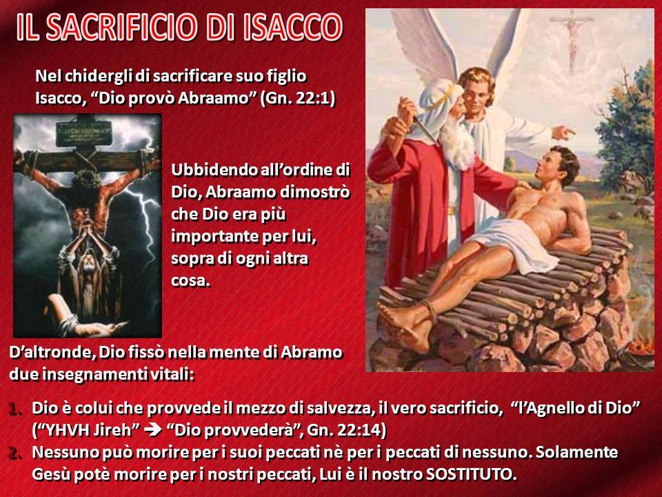 Nel chidergli di sacrificare suo figlio Isacco, Dio provò Abraamo (Gn. 22:1) 1.Dio è colui che provvede il mezzo di salvezza, il vero sacrificio, lAgn