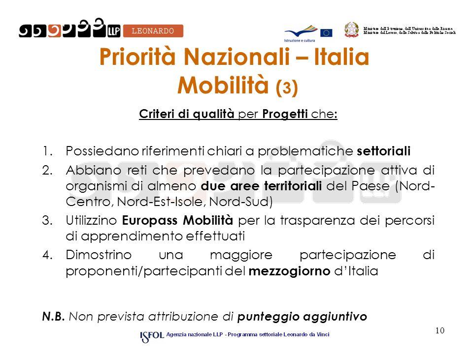 Priorità Nazionali – Italia Mobilità ( 3 ) Criteri di qualità per Progetti che : 1.Possiedano riferimenti chiari a problematiche settoriali 2.Abbiano