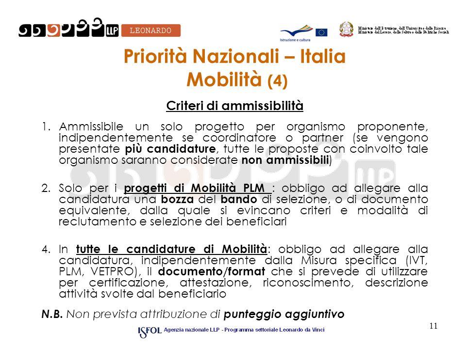 11 Priorità Nazionali – Italia Mobilità (4) Criteri di ammissibilità 1.Ammissibile un solo progetto per organismo proponente, indipendentemente se coo