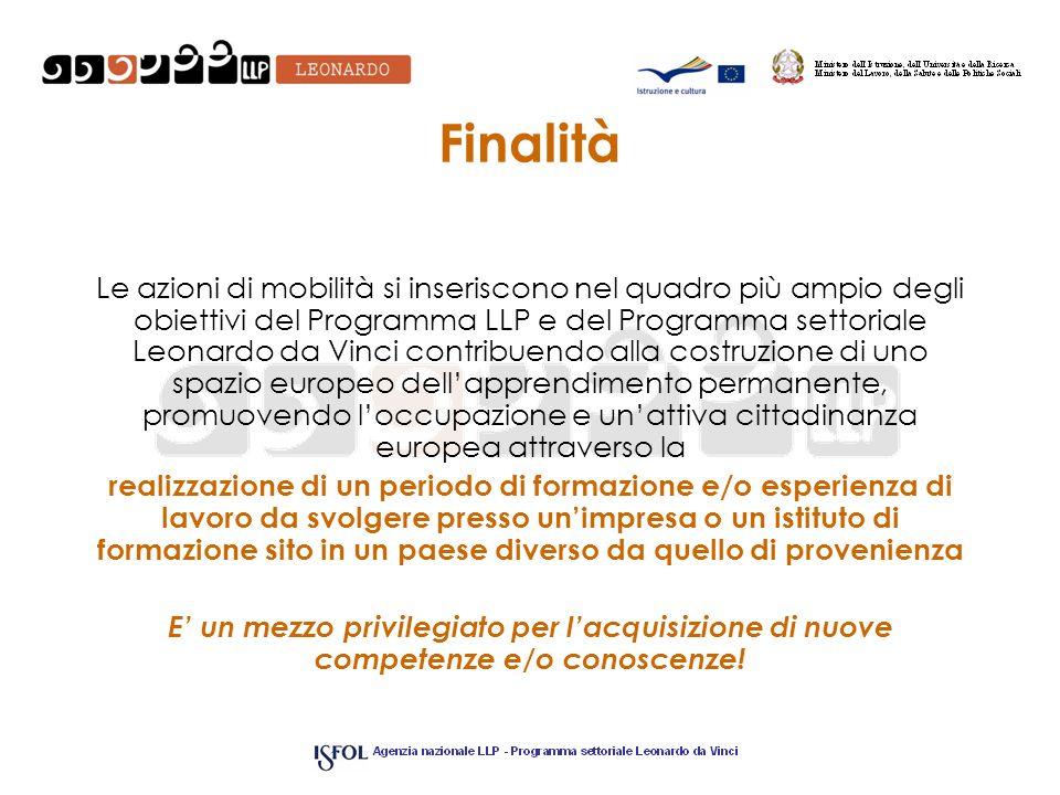 Finalità Le azioni di mobilità si inseriscono nel quadro più ampio degli obiettivi del Programma LLP e del Programma settoriale Leonardo da Vinci cont