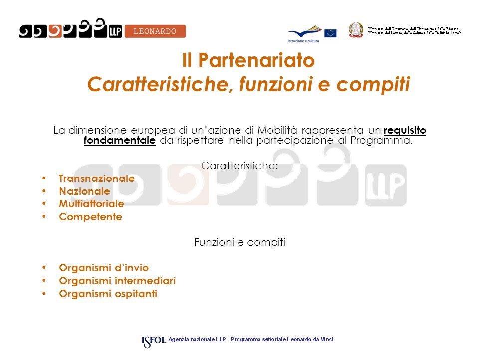 Il Partenariato Caratteristiche, funzioni e compiti La dimensione europea di unazione di Mobilità rappresenta un requisito fondamentale da rispettare