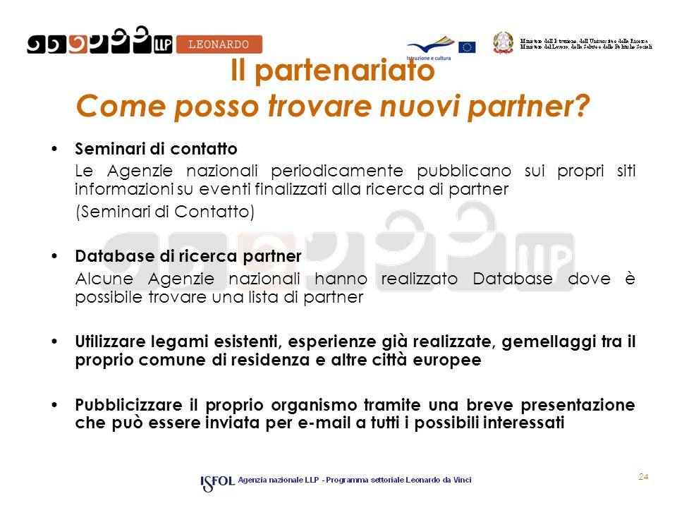 24 Il partenariato Come posso trovare nuovi partner? Seminari di contatto Le Agenzie nazionali periodicamente pubblicano sui propri siti informazioni
