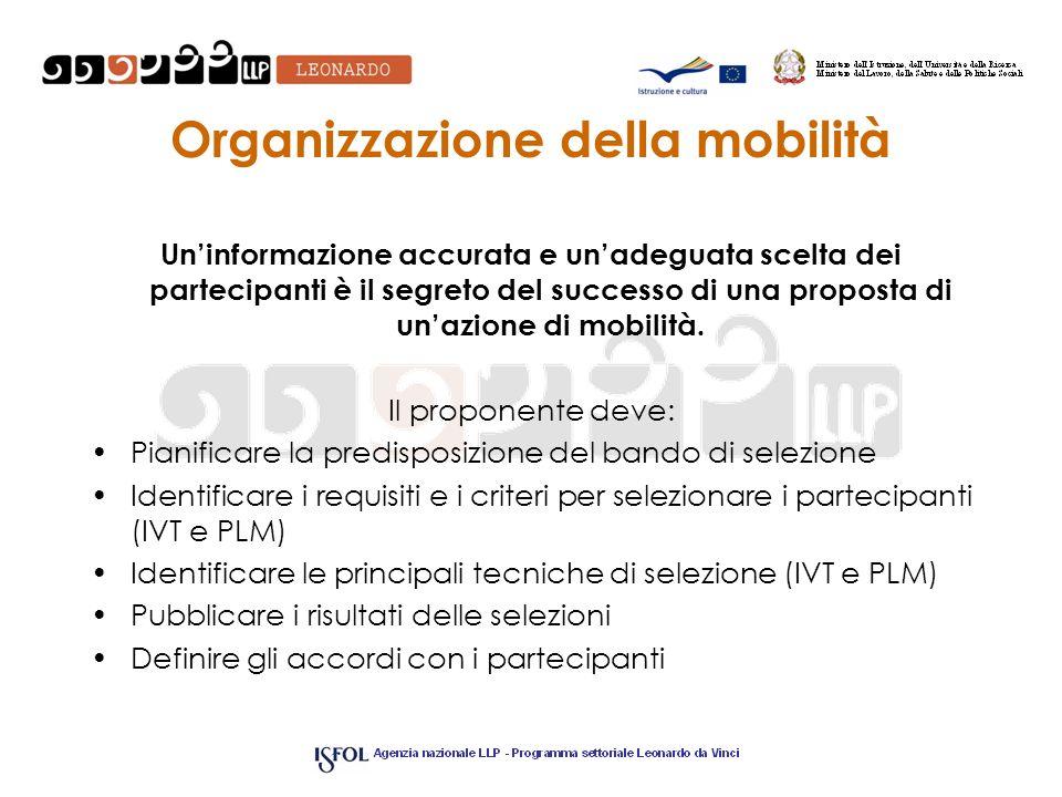 Organizzazione della mobilità Uninformazione accurata e unadeguata scelta dei partecipanti è il segreto del successo di una proposta di unazione di mo