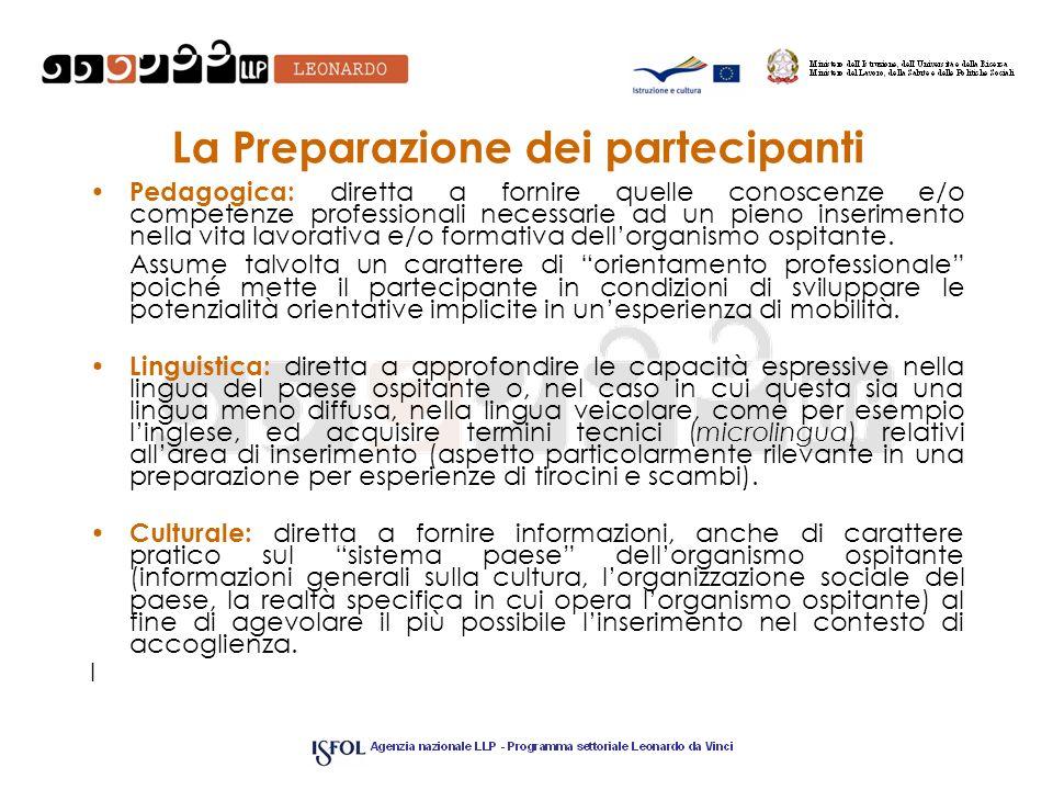 La Preparazione dei partecipanti Pedagogica: diretta a fornire quelle conoscenze e/o competenze professionali necessarie ad un pieno inserimento nella