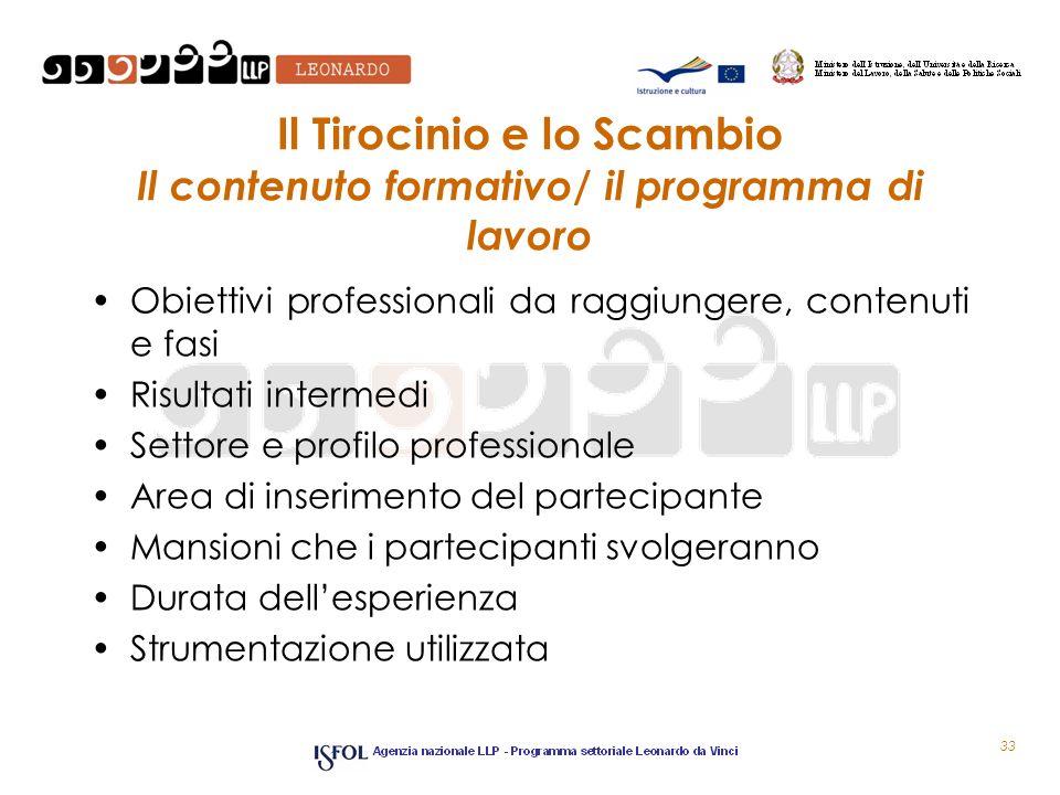 Il Tirocinio e lo Scambio Il contenuto formativo/ il programma di lavoro Obiettivi professionali da raggiungere, contenuti e fasi Risultati intermedi