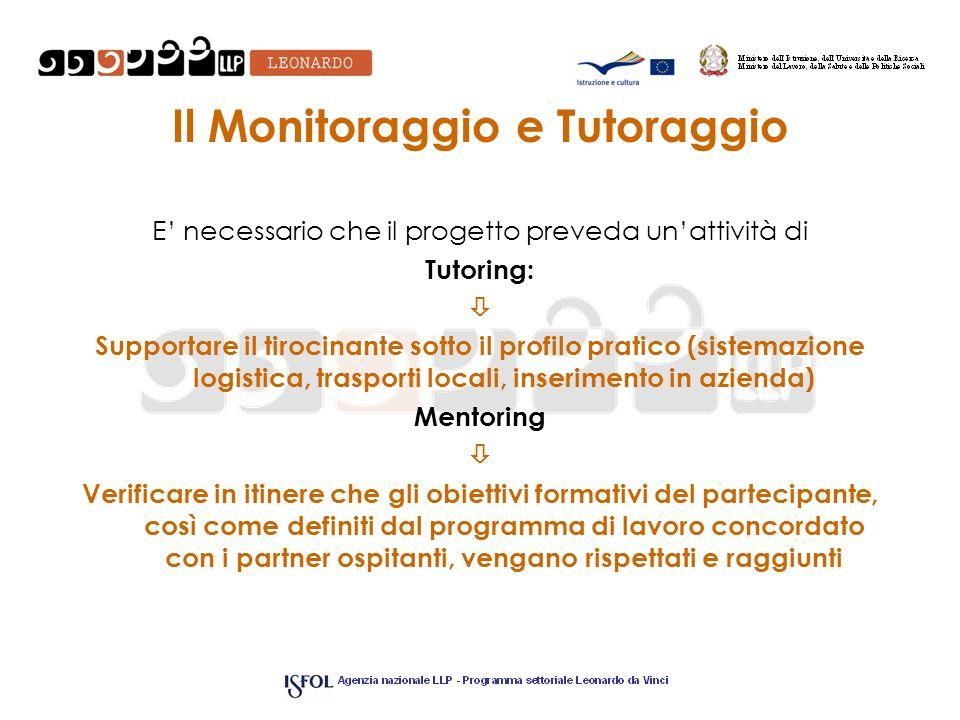 Il Monitoraggio e Tutoraggio E necessario che il progetto preveda unattività di Tutoring: Supportare il tirocinante sotto il profilo pratico (sistemaz
