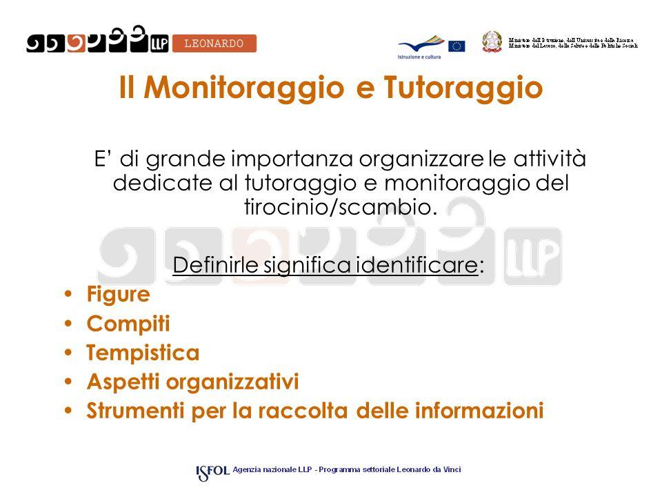 Il Monitoraggio e Tutoraggio E di grande importanza organizzare le attività dedicate al tutoraggio e monitoraggio del tirocinio/scambio. Definirle sig
