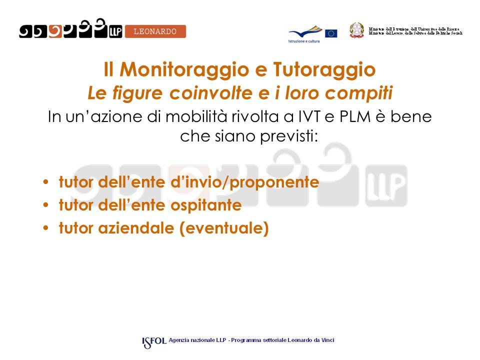 Il Monitoraggio e Tutoraggio Le figure coinvolte e i loro compiti In unazione di mobilità rivolta a IVT e PLM è bene che siano previsti: tutor dellent