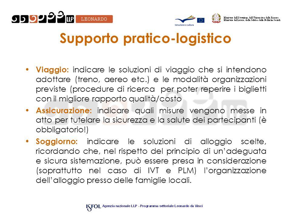 Supporto pratico-logistico Viaggio: indicare le soluzioni di viaggio che si intendono adottare (treno, aereo etc.) e le modalità organizzazioni previs