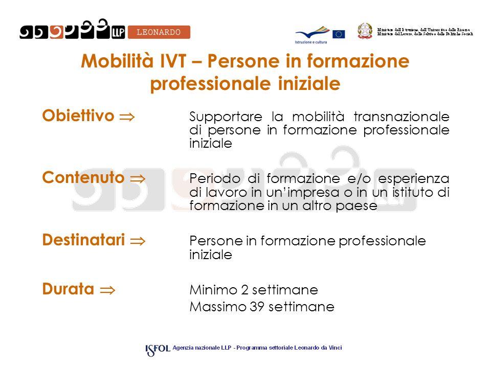 Mobilità IVT – Persone in formazione professionale iniziale Obiettivo Supportare la mobilità transnazionale di persone in formazione professionale ini
