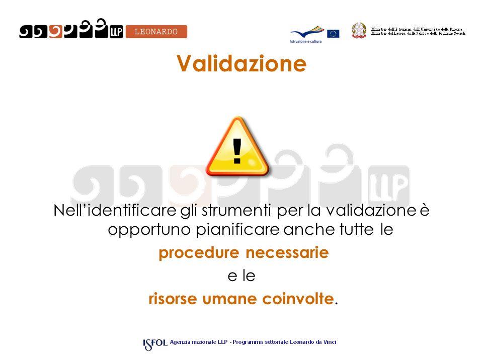 Validazione Nellidentificare gli strumenti per la validazione è opportuno pianificare anche tutte le procedure necessarie e le risorse umane coinvolte