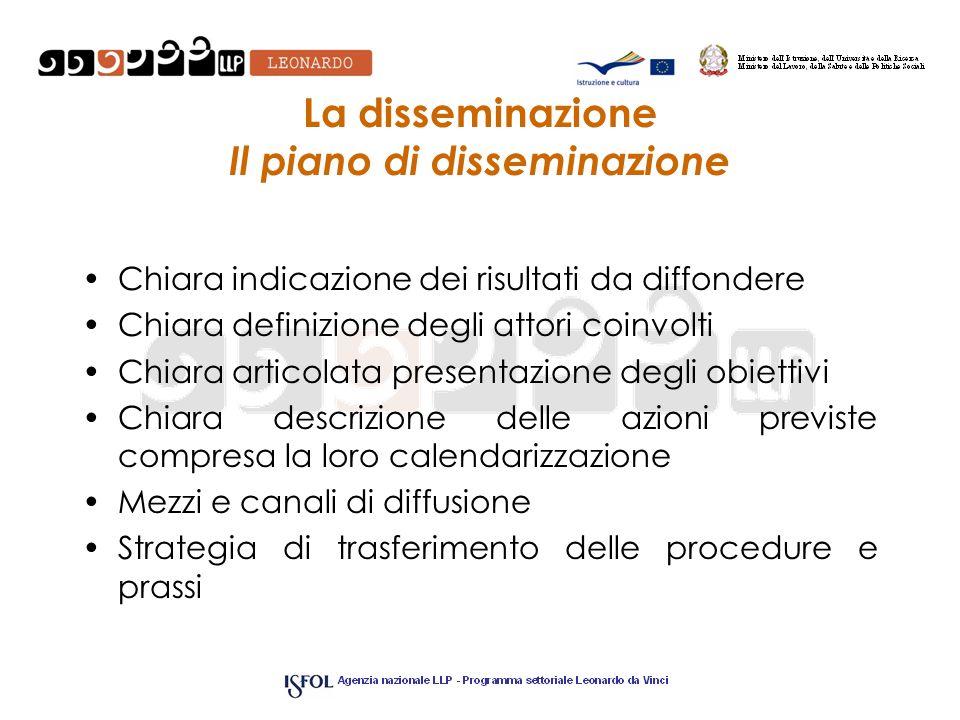 La disseminazione Il piano di disseminazione Chiara indicazione dei risultati da diffondere Chiara definizione degli attori coinvolti Chiara articolat