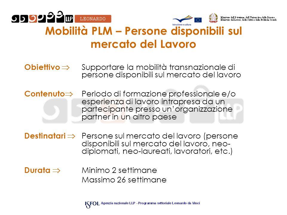 Mobilità PLM – Persone disponibili sul mercato del Lavoro Obiettivo Supportare la mobilità transnazionale di persone disponibili sul mercato del lavor