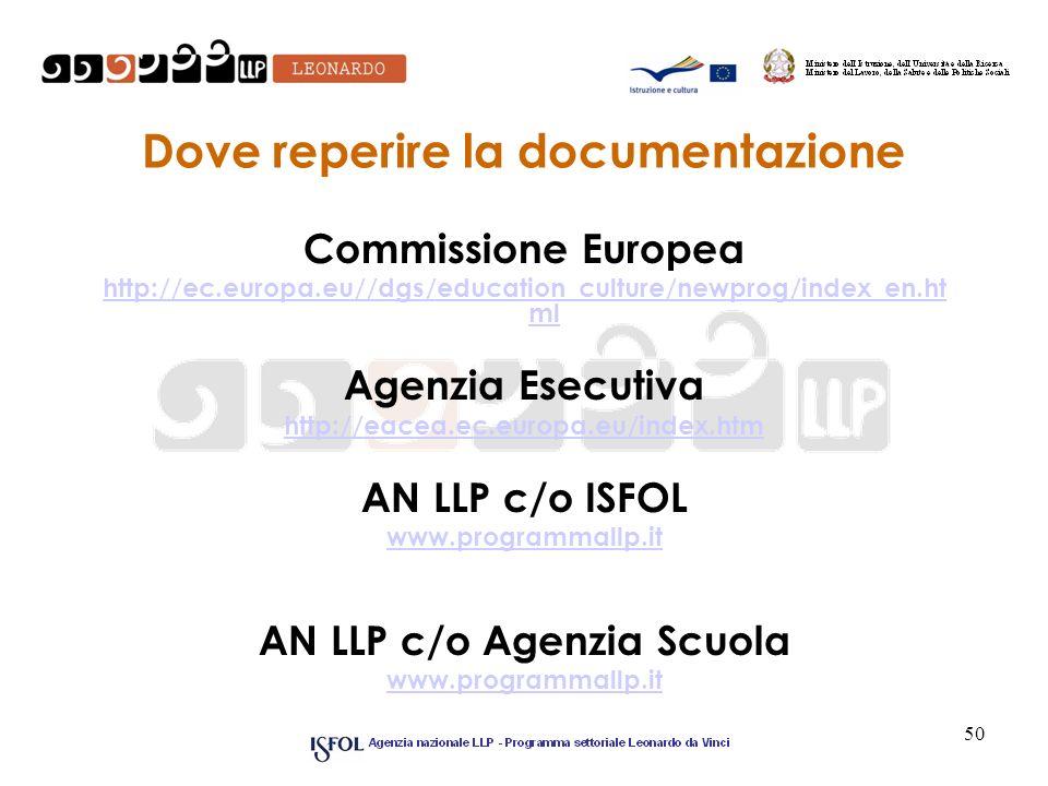 50 Dove reperire la documentazione Commissione Europea http://ec.europa.eu//dgs/education_culture/newprog/index_en.ht ml Agenzia Esecutiva http://eace