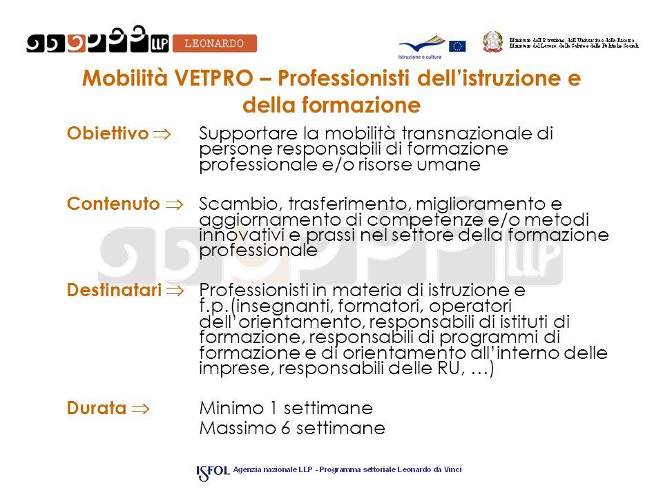 Mobilità VETPRO – Professionisti dellistruzione e della formazione Obiettivo Supportare la mobilità transnazionale di persone responsabili di formazio