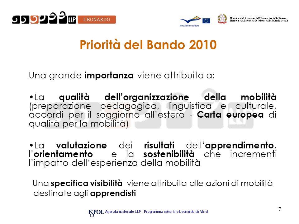 7 Priorità del Bando 2010 Una grande importanza viene attribuita a: La qualità dellorganizzazione della mobilità (preparazione pedagogica, linguistica