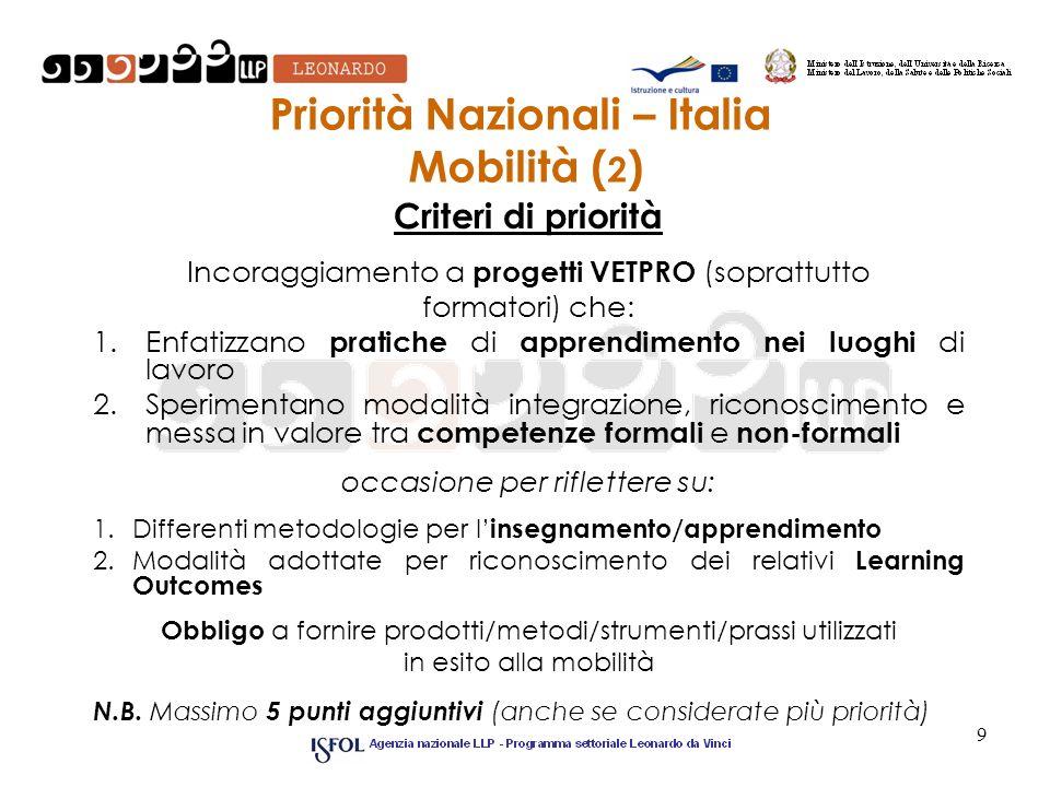 Priorità Nazionali – Italia Mobilità ( 2 ) Criteri di priorità Incoraggiamento a progetti VETPRO (soprattutto formatori) che: 1.Enfatizzano pratiche d