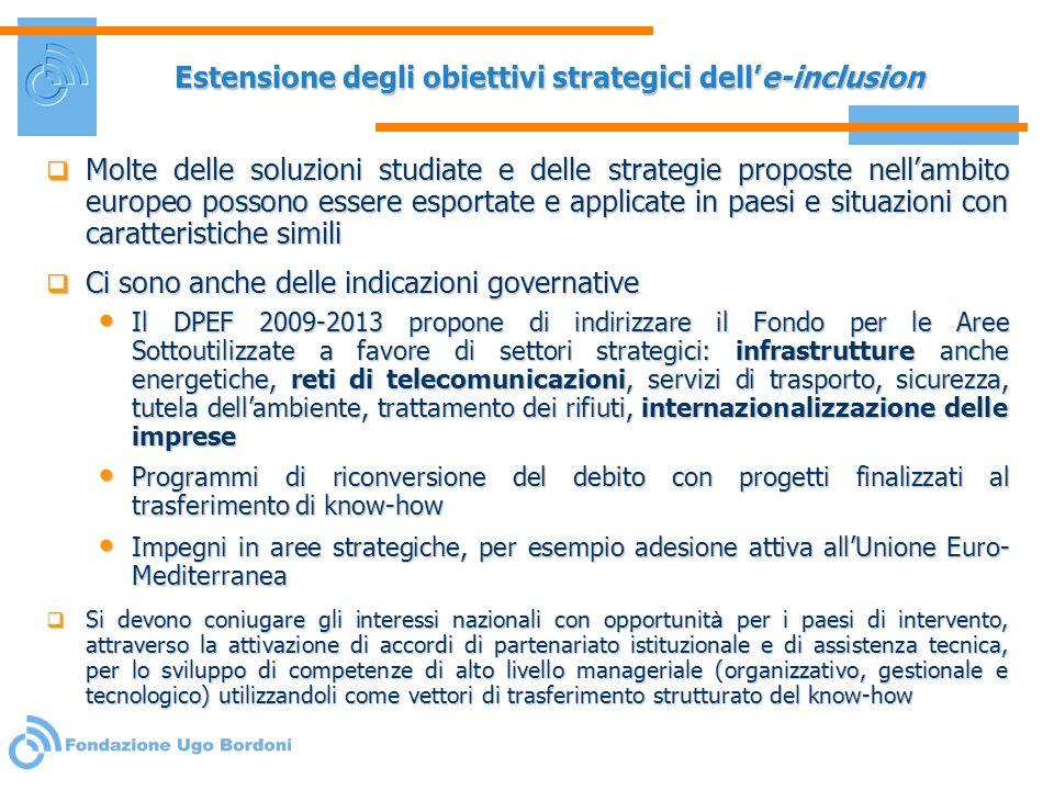 Estensione degli obiettivi strategici delle-inclusion Molte delle soluzioni studiate e delle strategie proposte nellambito europeo possono essere espo