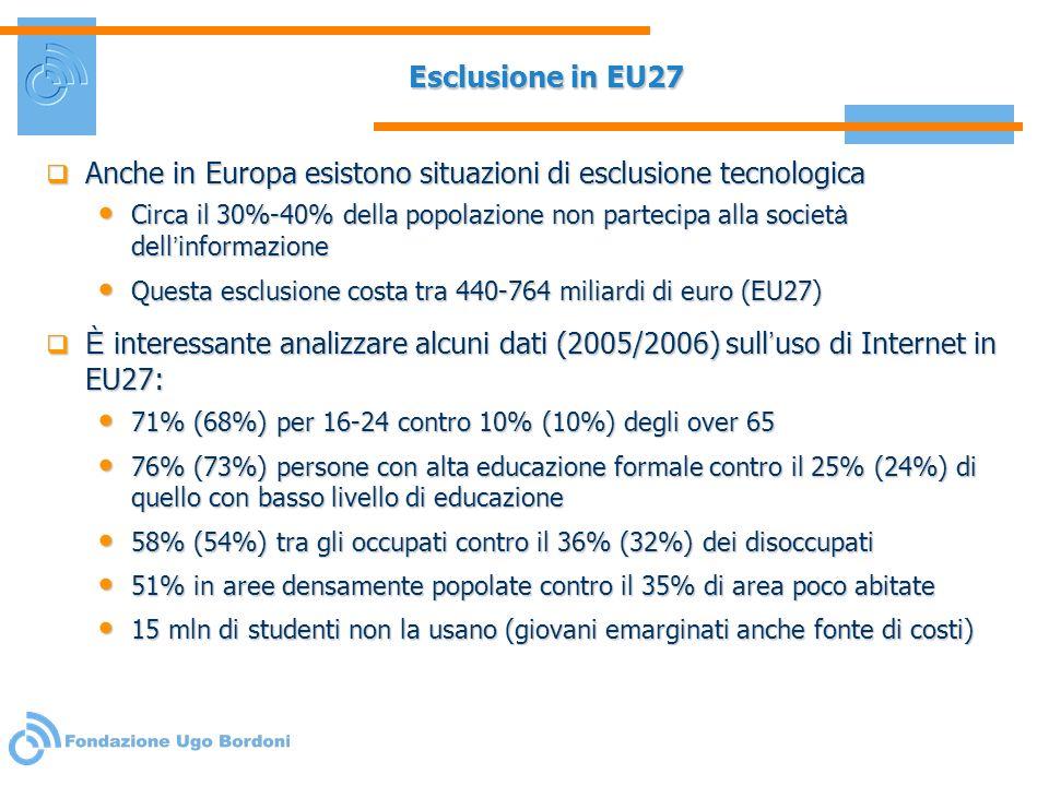 Esclusione in EU27 Anche in Europa esistono situazioni di esclusione tecnologica Anche in Europa esistono situazioni di esclusione tecnologica Circa i