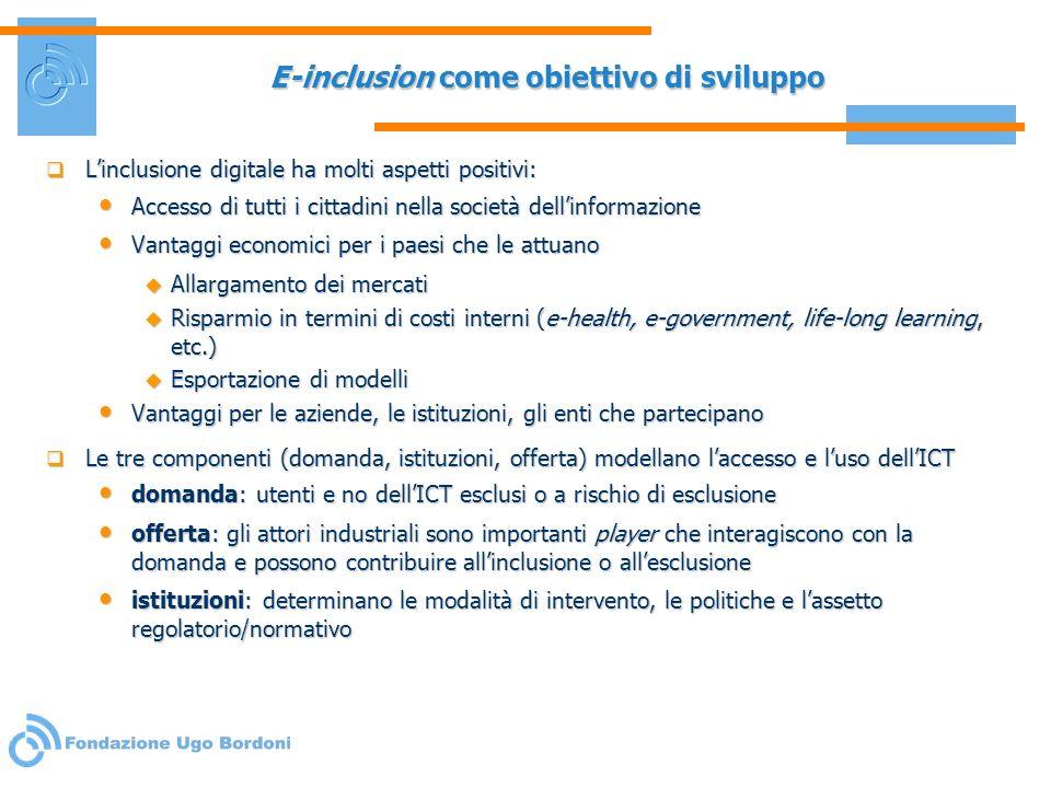 E-inclusion come obiettivo di sviluppo Linclusione digitale ha molti aspetti positivi: Linclusione digitale ha molti aspetti positivi: Accesso di tutt
