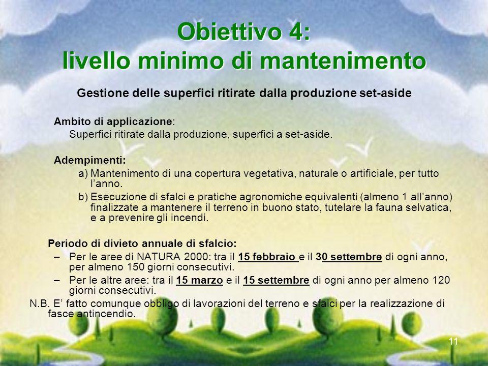 11 Obiettivo 4: livello minimo di mantenimento Gestione delle superfici ritirate dalla produzione set-aside Ambito di applicazione: Superfici ritirate