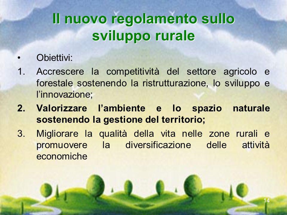 14 Il nuovo regolamento sullo sviluppo rurale Obiettivi: 1.Accrescere la competitività del settore agricolo e forestale sostenendo la ristrutturazione