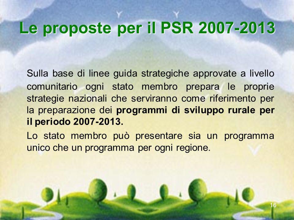 16 Le proposte per il PSR 2007-2013 Sulla base di linee guida strategiche approvate a livello comunitario ogni stato membro prepara le proprie strateg